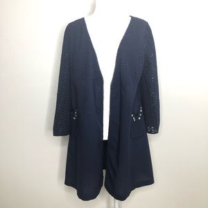 Antho / Lilka navy blue eyelet jacket, size M